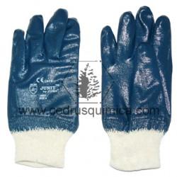 Guantes algodon + nitrilo comple.azul  JU 2002